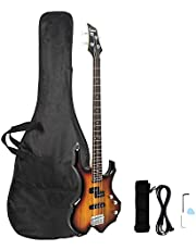 $119 » GLARRY Electric Bass Guitar 4 Strings Buring Fire Style Full Size for Beginner Right Hand with Bag, Strap and Accessories (Sunset)