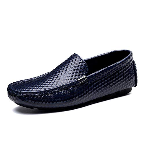 mocassini suola Nero tinta gomma uomo scarpe suola EU in Mocassino Isbxn da per guida all'usura Blu unita fashion 46 mocassini business Color slip piatte resistente scarpe Dimensione x0waBP