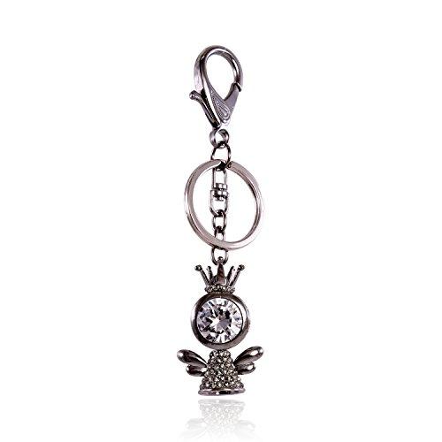 Evil Eye Teardrop Crystal Rhinestone Keychain Silver Tone Key Ring Handbag Accessories for Women and Girls (Joy (Evil Eye Silver Keychain)