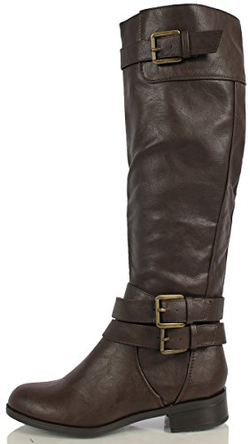 Buckle High Tan Knee Riding Accent Women's Leatherette Boots Dark NEW AnWqBCHwU