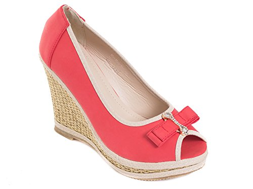 Tory Klein Womens & Ladies Classic Espadrille Platform Wedge Shoes - Open Toe Designs Crystal Pin Bow - Red