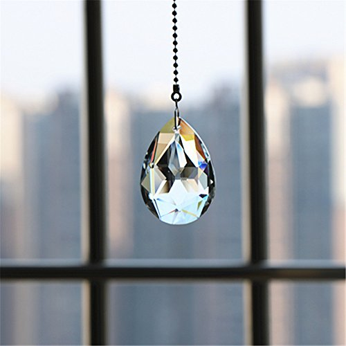 Gusnilo Magnificent Crystal 50mm Clear Crystal Ball Prism 4 Pieces Dazzling Crystal Ceiling FAN Pull Chains