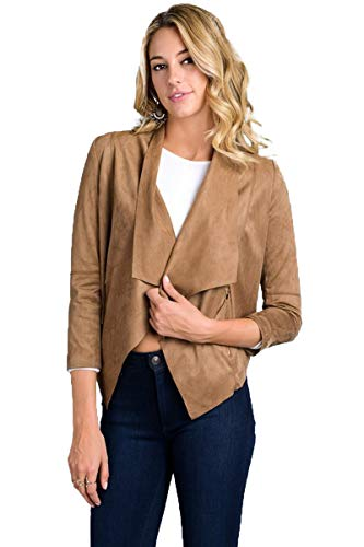 ForRami Faux Suede Jacket Long Sleeve Drape Open Front Cardigan, Brown, Medium