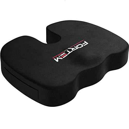 Car Seat Cushion for Office Computer Chair by FORTEM | Provides Coccyx Tailbone & Sciatica Pain Relief | Improve Posture | No-Slip Bottom | Washable Cover |Orthopedic Memory Foam Pillow For Wheelchair