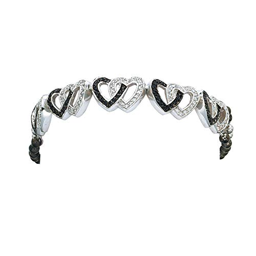 - Montana Silversmiths Crystal and Black Double Heart Link Bracelet
