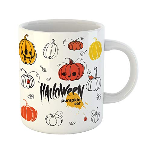 Emvency Coffee Tea Mug Gift 11 Ounces Funny Ceramic Orange Brush of Halloween Pumpkins and Autumn Leaves Yellow Cartoon Gifts For Family Friends Coworkers Boss Mug ()