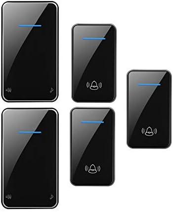 スマートワイヤレスホームドアベル、1000ft範囲の防水調整可能な音楽ドアチャイムキット、3プッシュボタンと2 レシーバー、48着信音、6ボリュームレベル(0-115 dB),黒