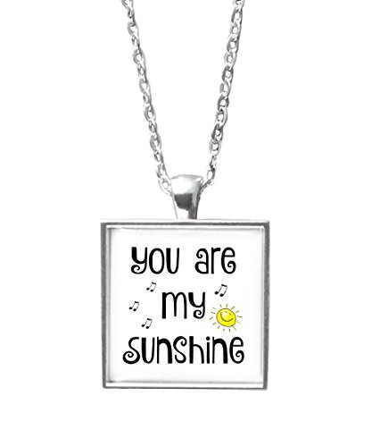You Are My Sunshine Mug & Necklace Gift Set -Coffee Mugs & Jewelry With Quotes -Best Birthday, Valentines Day, Mothers Day Gifts for Mom, Women, Daughter, Her, Wife -11oz Cup (Square Necklace)