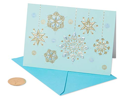 Papyrus Holiday Cards Boxed, Hanging Glitter Snowflakes (12-Count) (Card Snowflake)