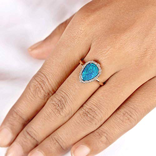 Genuine1.45 Ct Boulder Opal Gemstone Ring Diamond Pave Solid 14k Rose Gold Handmade Fine Jewelry Christmas Gift For Her