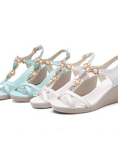 0c7cb7946fee ShangYi Women s Shoes Wedge Heel Pointed Toe Sandals Dress Blue White White  DFCbFB ...