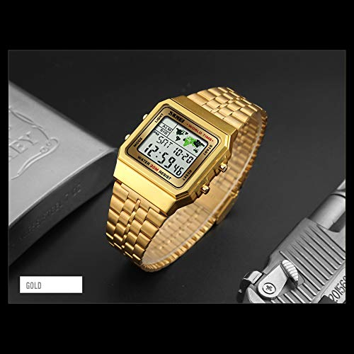 Amazon.com: Mens Boys World Time Quartz Watch Digital Watch Sports Watch Countdown Alarm Clock Stopwatch (Gold): Watches