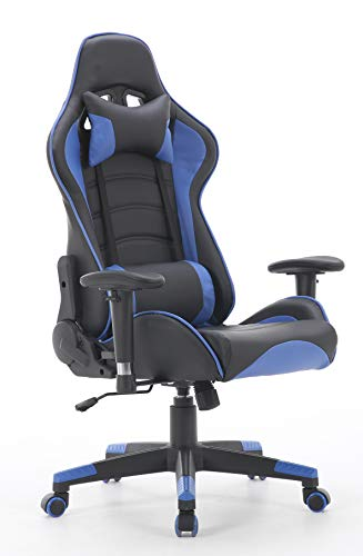 350lb Ergonomic Racing High Back Swivel Desk Video Gaming Chair -Adjustable Headrest and Lumbar Support,3D Armrest Recliner Napping Chair(Blue/Black)