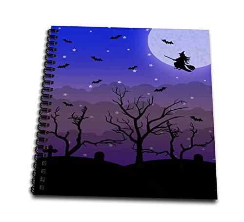 3dRose Janna Salak Designs Halloween - Halloween Graveyard and Witch - Drawing Book 8 x 8 inch -