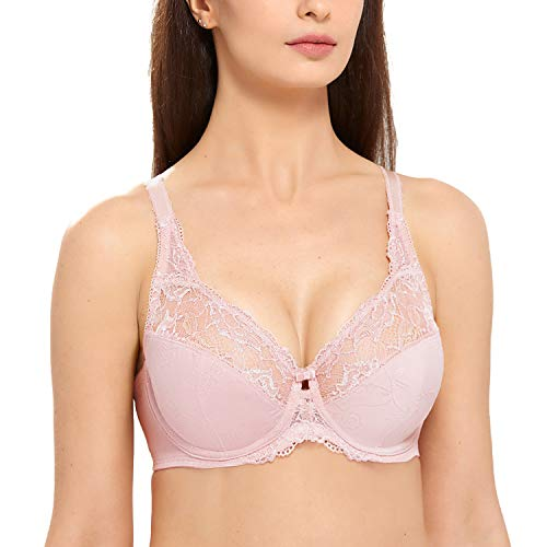 DELIMIRA Women's Beauty Lace Non Padded Minimizer Full Figure Underwire Bra Adobe Rose 34C