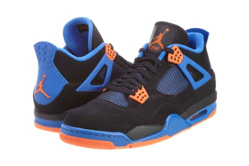 Nike Air Jordan 4 Retro BG Scarpe da Sportive, Bambino Black, Safety Orange-game Royal
