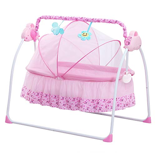 CBBAY Electric Cradle for Baby ,Automatic Baby Basket Electric Rocking Multi-Function Baby Swing Cradle Bed with Music (Pink) ()