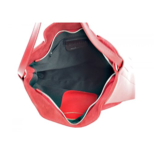 Borsa A Spalla In Vera Pelle Colore Rosso Borgogna - Pelletteria Toscana Made In Italy - Borsa Donna