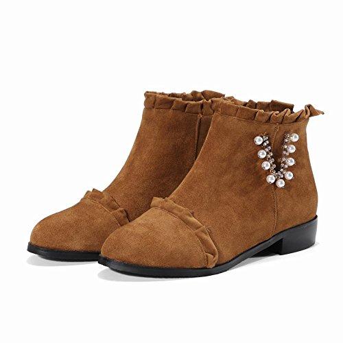 Carolbar Womens Pärlstav Strass Dekorativa Gränsen Zip Komfort Boots Brown