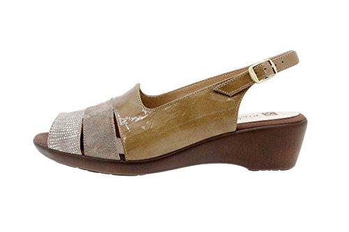 Calzado mujer confort de piel Piesanto 1554 Sandalia Cuña cómodo ancho Lizard Visón