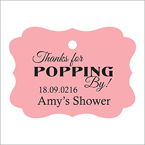 100 PCS Personalized Baby Shower Favors Tags Custom Quote Thank You For Popping By Baby Shower Gift Hang Tags