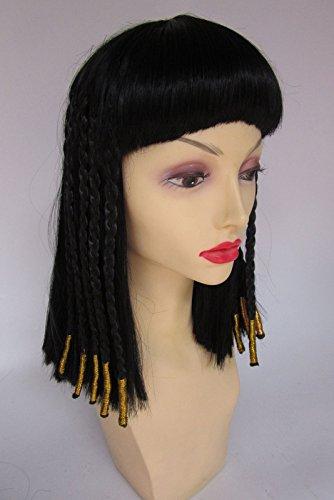 Deluxe Cleopatra Reina Egipcia Negro Oro Trenzado Largo Medio Peluca Disfraz: Amazon.es: Juguetes y juegos