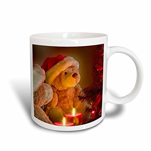 3dRose mug_164733_1 Christmas Teddy Bears with Holiday Tree and Candles Ceramic Mug, 11 oz, White Teddy Bear Candles