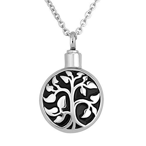 SexyMandala Tree of Life Round Urn Necklace for Ashes Stainless Steel Urn Pendant Memorial Ashes Keepsake 18'' Chain (tree2) (TREE2) ()