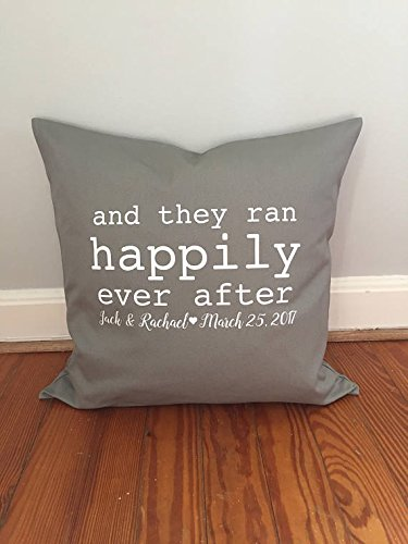 And They Ran Happily Ever After pillow cover, Love to run, Fit Couple Pillow Cover, Running Anniversary present, 16x16 Pillow (Fabric Salt Lake City)