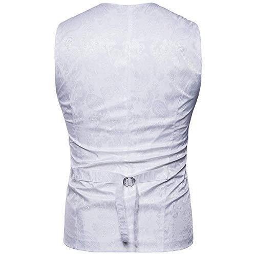 Uomo Petto Pattern Slim Motivo Vintage Fit Doppio Formale Paisley Moda Con Alla In Bianca Da Grembiule 1TAqX6q