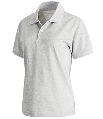 ililily Women Solid Short Sleeve Lightweight Stretch Jersey Knit Polo Shirt Top