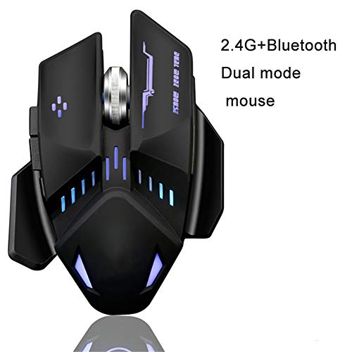 LARDOO Bluetooth +2.4G Dual Mode 1600Dpi Wireless Rechargeable Game Mouse with Cable for LOL CF Game Mouse Office,Black ()