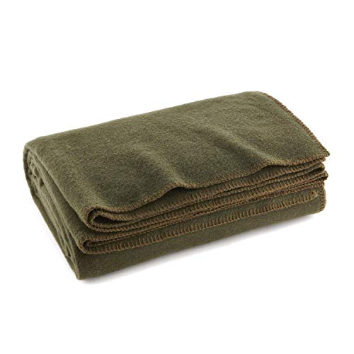 "EverOne Olive Drab 80% Wool Fire Retardant Blanket - 66""x90"""