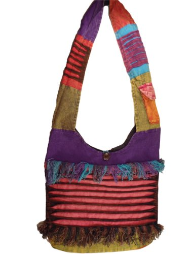 Bohemian Fringe Razorcut Bag Crossbody Purse Handmade in Nepal Fair Trade By Ragged Ends, Bags Central