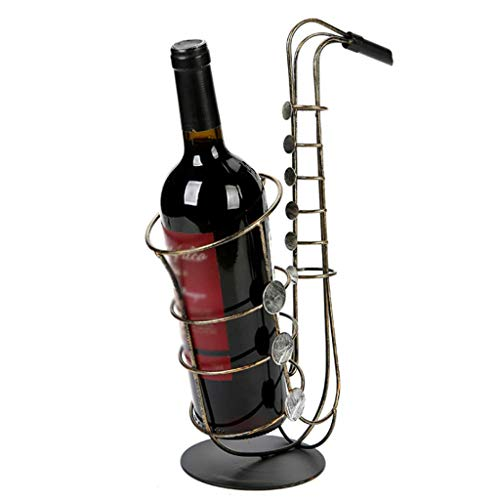 Xgfkljkrelw Wine Rack Retro Wrought Iron Wine Cabinet Decoration Creative Saxophone Ornaments Flexible Placement Crafts (Color : -, Size : -)