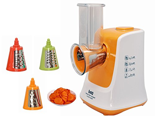 SunSir Professional Salad Shooter,Electronic Shredder, Slicer, Chopper-Salad Maker Food Processor Perfect for Fruits Vegetable Pasta & Spaghtti - One Touch Control and 3 Interchangeable Cones (Orange) (Hand Crank Chopper compare prices)