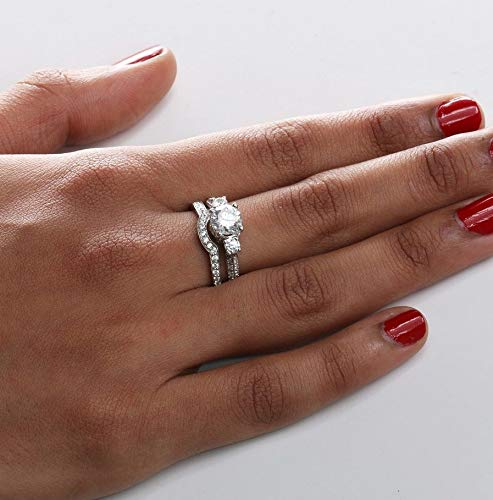 MGZDH Womens Rings Luxury Womens Rings Brass Silver Plated Zircon Ring 10 White