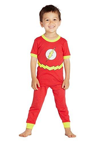 DC Comics Toddler 'Flash Superhero Logo' Cotton Costume Pajama Set, Multi, 4T