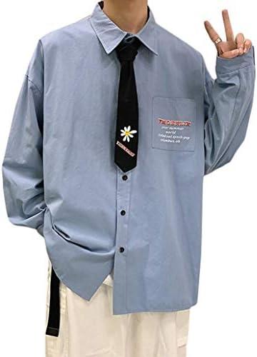 Gergeousメンズ シャツ 長袖 ネクタイ付き カジュアルシャツ ゆったり シンプル 開襟シャツ ストリート系 トップス 無地 大きいサイズ 春 秋 男女兼用