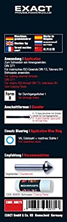 Exact 30076 Maschinengewindebohrer M10 HSS-E f/ür Edelstahl VA DIN 371 Fom B Blauring,