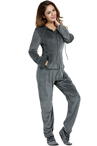 Fleece Playsuit (HOTOUCH Women's Drop Seat Pajamas Ladies Onesie Hoodie Jumpsuit Playsuit with Pockets Gray XL)