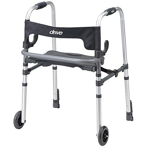 Push Down Brake Rollator (Drive Medical Durable Clever Lite Walker w/ Push-Down Brakes & Flip-Up Seat)