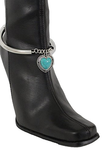 Horse And Rider Fancy Dress Costumes For Sale (TFJ Women Western Fashion Jewelry Boot Bracelet Metal Chain Shoe Turquoise Blue Heart Charm Silver)