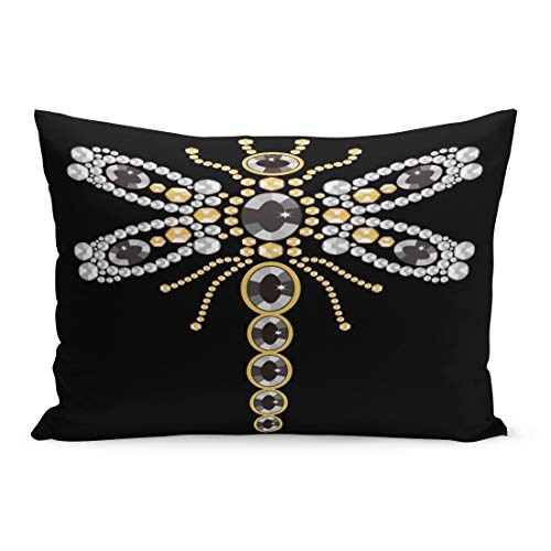 (Semtomn Throw Pillow Covers Beautiful Pattern of Flying Dragonfly Shiny Gold Silver and Black Diamonds Jewelry Abstract Stock Pillow Case Cushion Cover Lumbar Pillowcase for Couch Sofa 20 x 26 inchs)