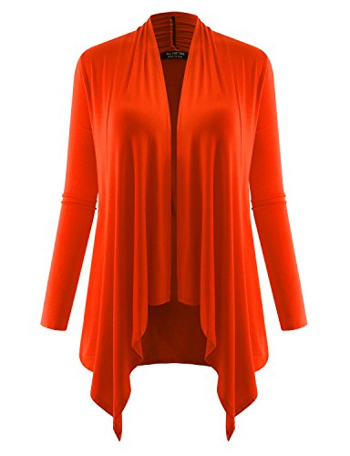 ALL FOR YOU Women's Long Sleeve Flowy Open Cardigan Deep Orange X-Large (Orange Sweater Cardigan)