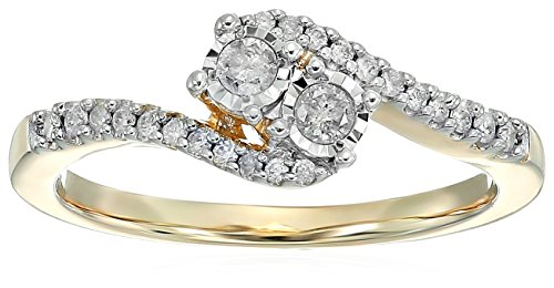 14k Over Sterling Silver Two Stone Plus Diamond Engagement Ring (1/4 cttw,I-J Color, I2-I3 Clarity), Size (0.25 Ct Engagement Ring)