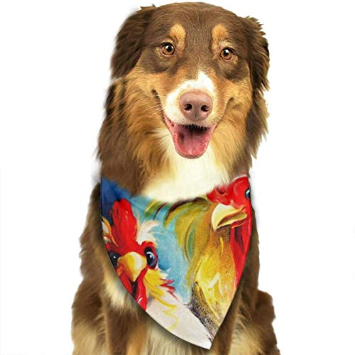 Funny Hen Rooster Couple Chicken Dog Bandana Scarf Triangle Bibs Printing Kerchief Set Accessories Dogs Cats Pets ()
