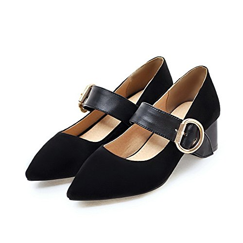 31 Shoes Buckle PU Heels Assorted Color Toe Black Odomolor Pumps Kitten Women's Pointed 7vwAnxqS