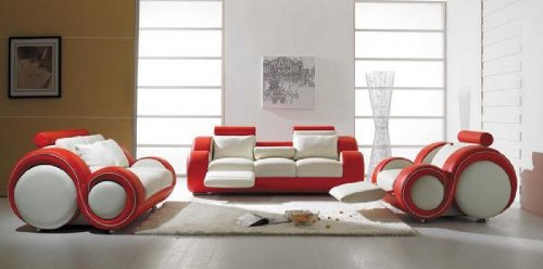 Vig Furniture T 27   Contemporary White And Red Leather