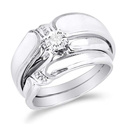 Silvostyles Mens & Ladies 1/10 Ct Diamond 14k White Gold Fn Couple Engagement Ring Trio Set by Silvostyles